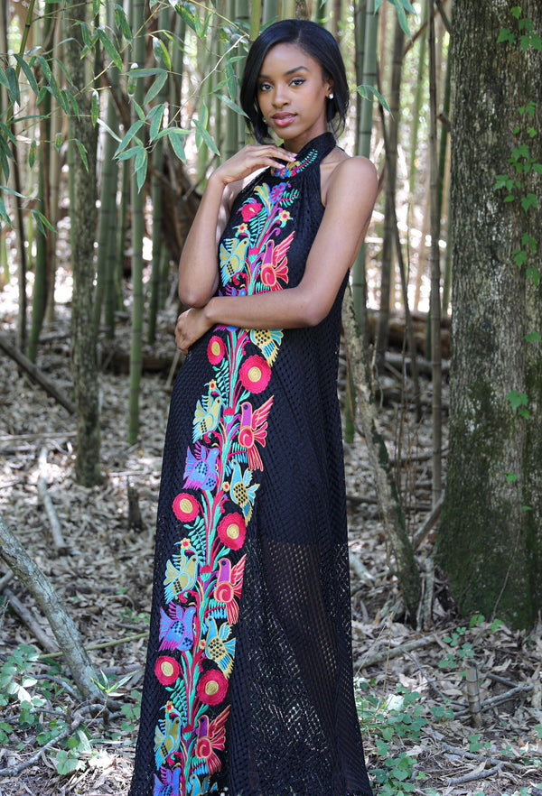 BLACK FRENCH QUARTER CROCHET MAXI DRESS W/GYPSY BIRD EMBROIDERY