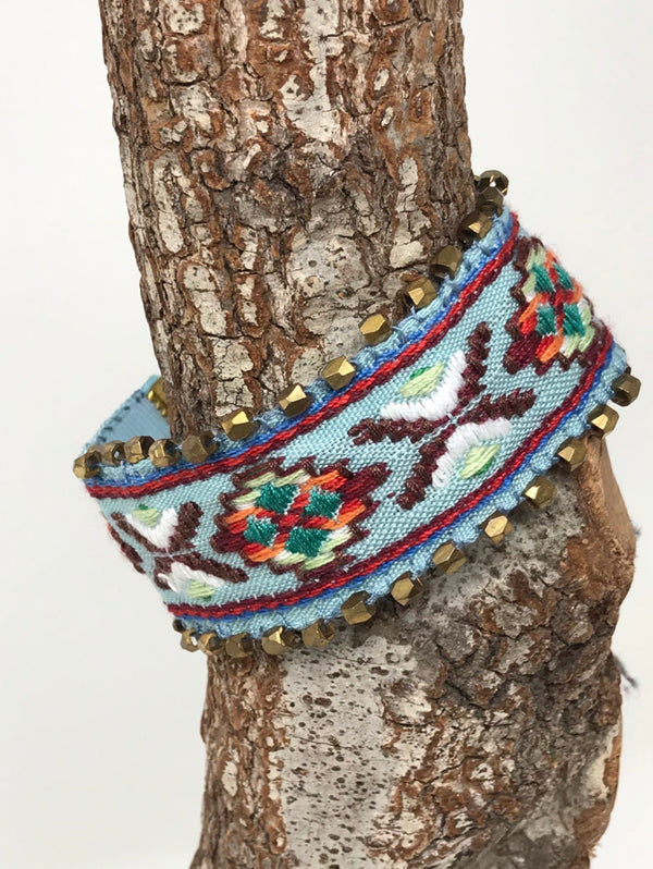BABY BLUE AZTEC DETAILED WRAP BRACELET
