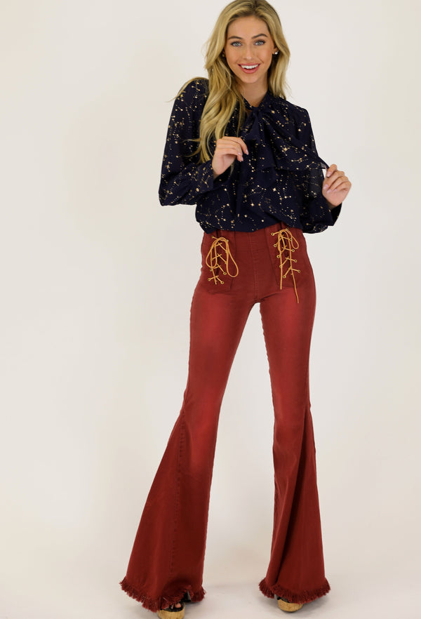 JUDITH MARCH RUST DENIM FLARE PANTS W/ FRONT LACE UP DETAIL