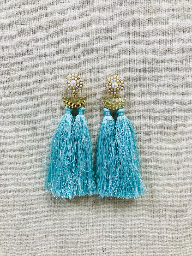BLUE DOUBLE TASSEL EARRING