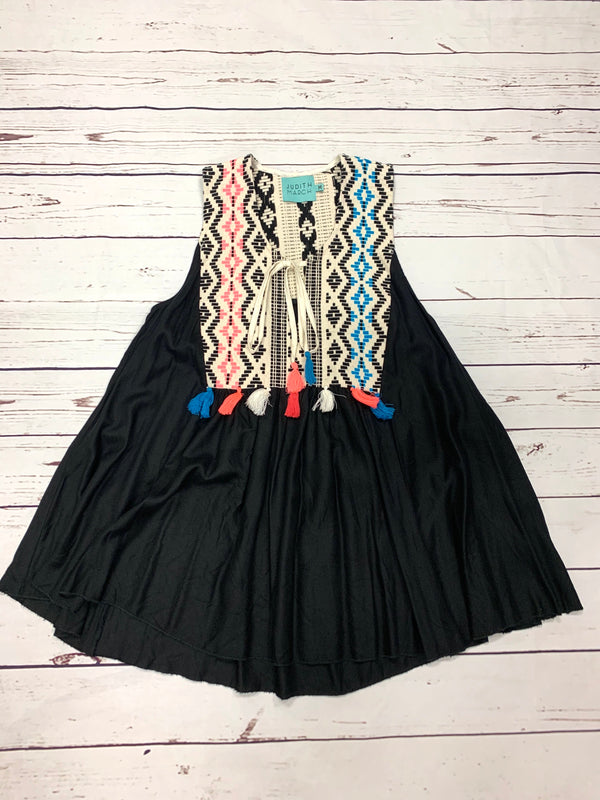BLACK SWING DRESS WITH AZTEC DETAILING