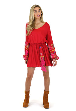 GYPSY KNOT EMBROIDERED BLOUSON DRESS