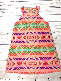 HIGH NECK JUDITH MARCH AZTEC PRINT DRESS