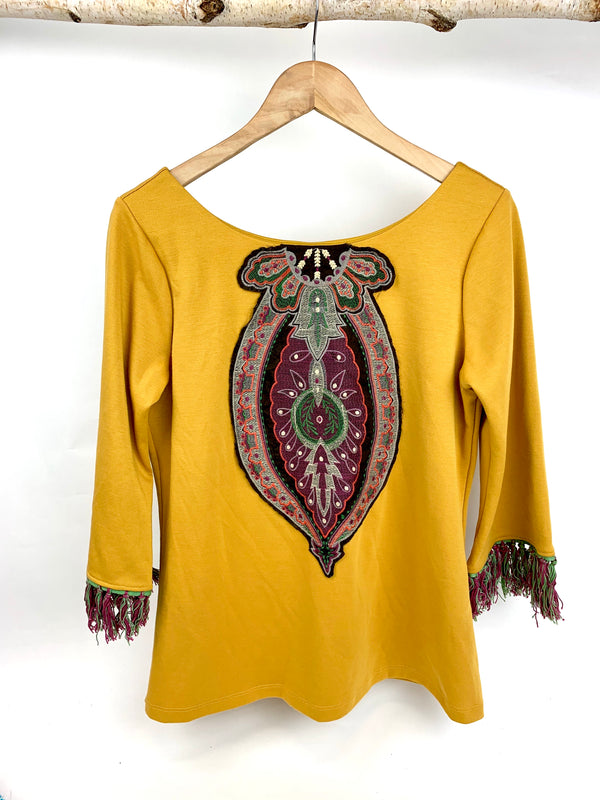 JM BEAUTIFUL YELLOW TOP WITH EMBROIDERY