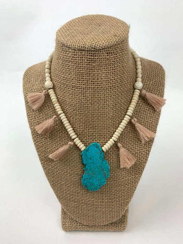 EARTH TONE BEADED+ TASSEL NECKLACE WITH TURQUOISE STONE