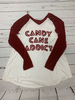 "JUDITH MARCH VELVET SLEEVE ""CANDY CANE ADDICT"""