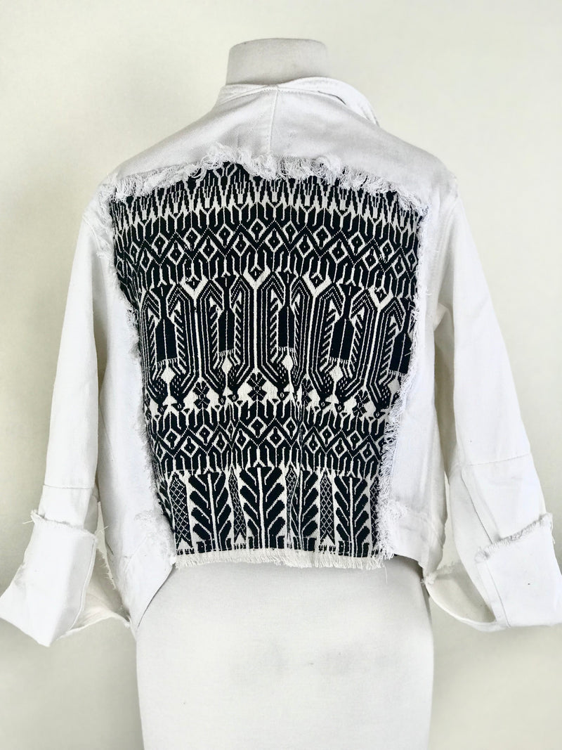 ONE OF A KIND WHITE DENIM JACKET WITH EMBROIDERED BACK