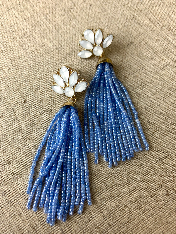 PERIWINKLE GLITZ TASSEL EARRINGS