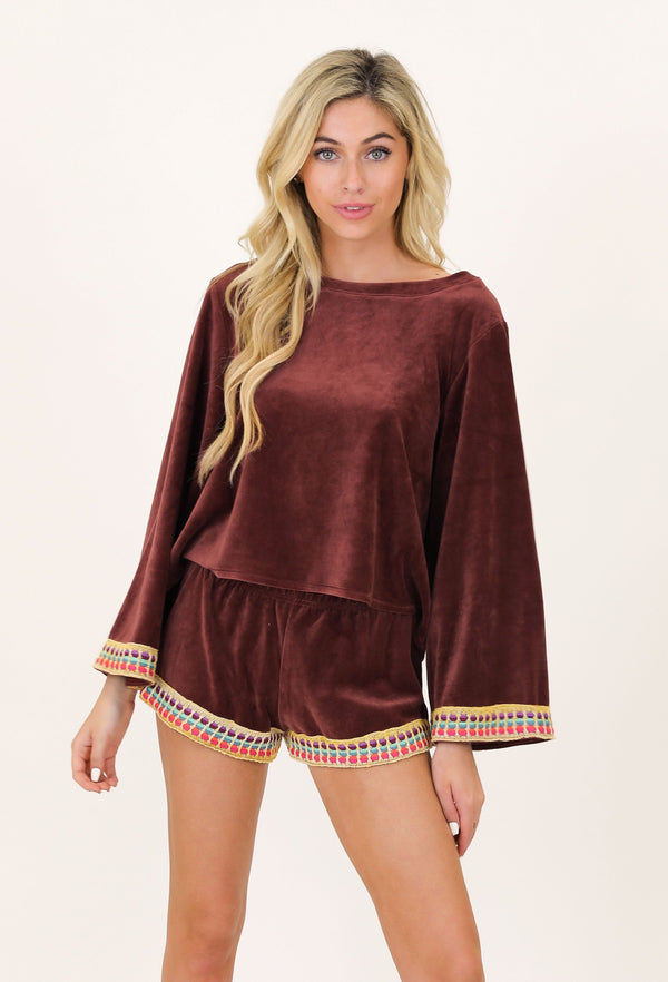 MOCHA VELVET KNIT TOP & SHORT SET
