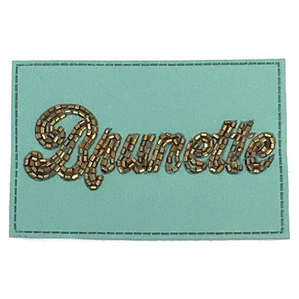 JUDITH MARCH TURQUOISE BEADED LEATHER BRUNETTE PATCH - RED HAT