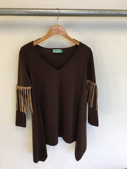 Judith March brown fringe tunic