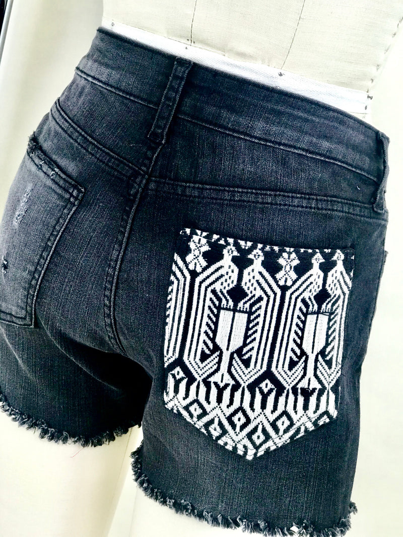 CHARCOAL DENIM SHORTS WITH ONE OF A KIND PATCH