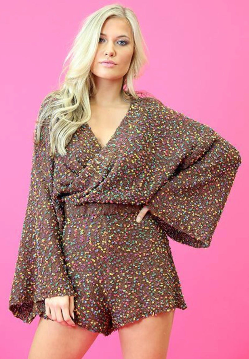 BROWN CONFETTI POP! KNIT ROMPER
