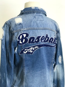ONE OF OF KIND BASEBALL MOM BLUE JEAN JACKET