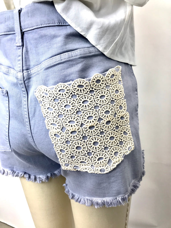 CREAM CROCHET DENIM SHORTS