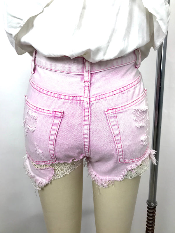 PINK ACID WASH WITH CROCHET SHORTS