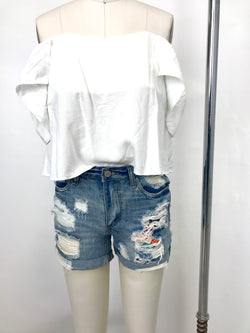 PEEK A BOO DENIM SHORTS