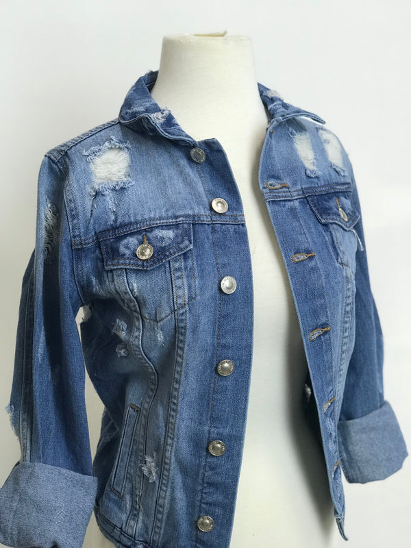 ONE OF A KIND MAMA BEAR BLUE JEAN JACKET