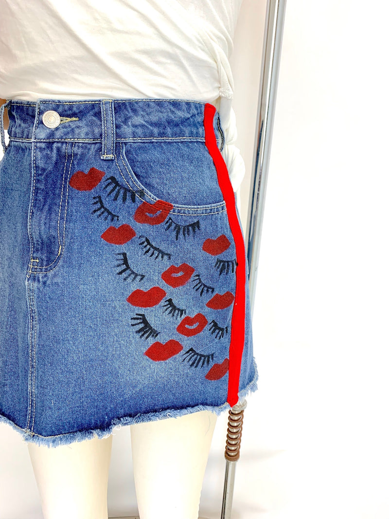 KISS DENIM SKIRT