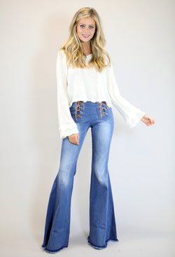 Judith March Stretch Denim Flare Pants With Front Lace Up Detail