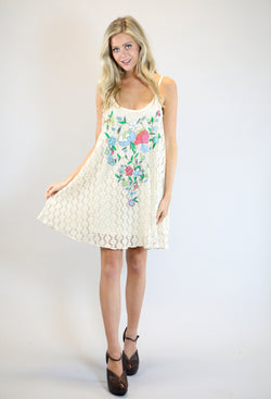 Judith March Natural Crotchet Swing Tank Dress W/ Floral Embroidery