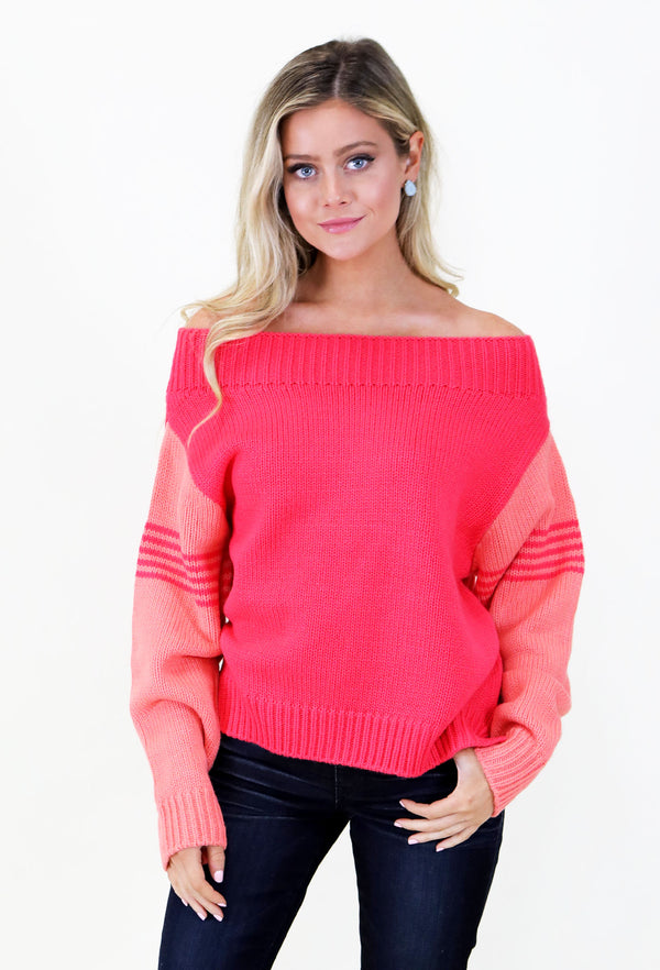 8c09a46b6f6 JUDITH MARCH TWO- TONED SWEATER - CORAL ...