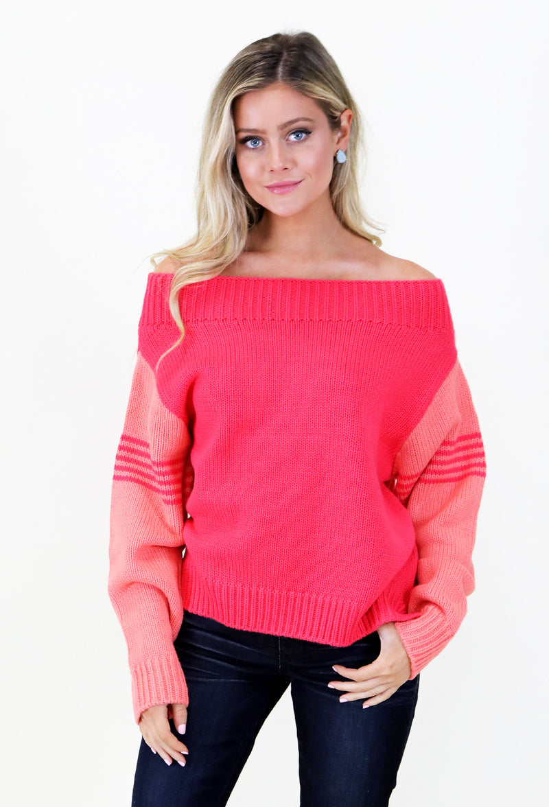 JUDITH MARCH TWO- TONED SWEATER - CORAL