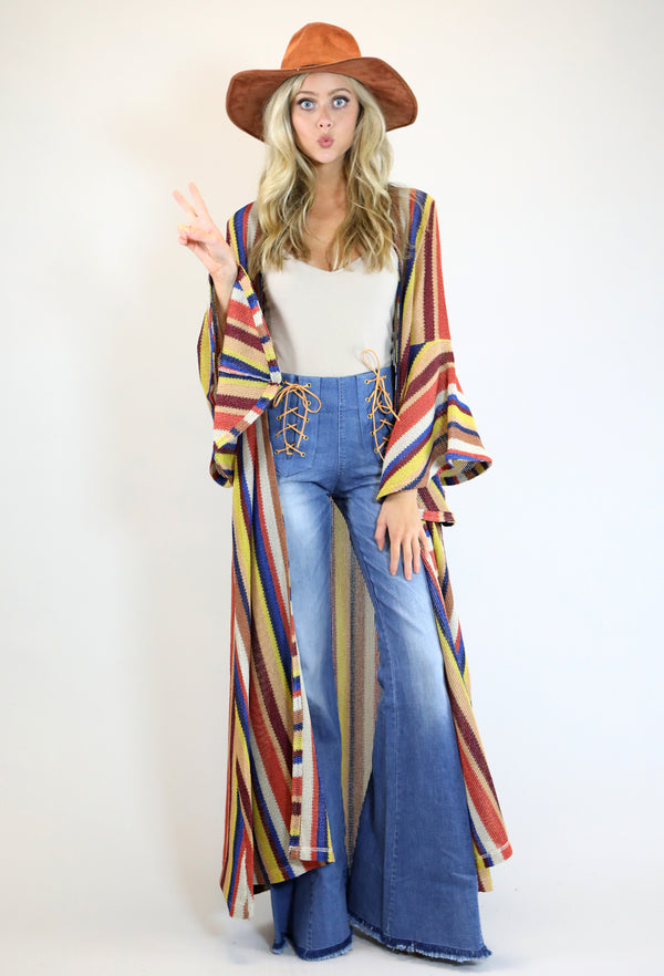 Desert Rose Stripe Kimono With Bell Sleeves