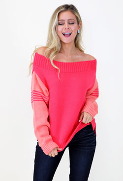 Judith March Two - Toned Sweater - Coral