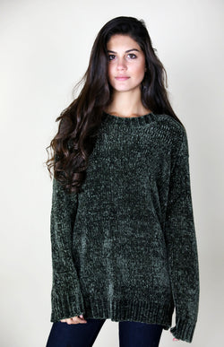 LONG CHENILLE SWEATER - OLIVE