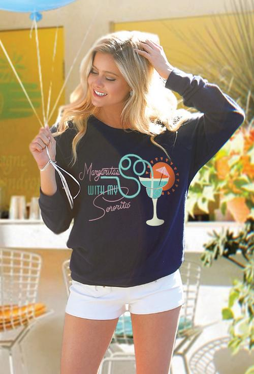 Judith March Margaritas With My Senoritas Navy Sweatshirt