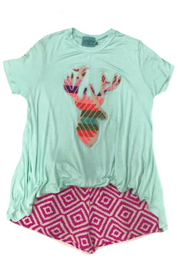 Judith March Mint Flowy Tee W/ Embroidered Deer