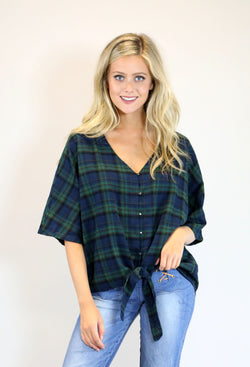 Plaid Front Tie Top - Navy/Green