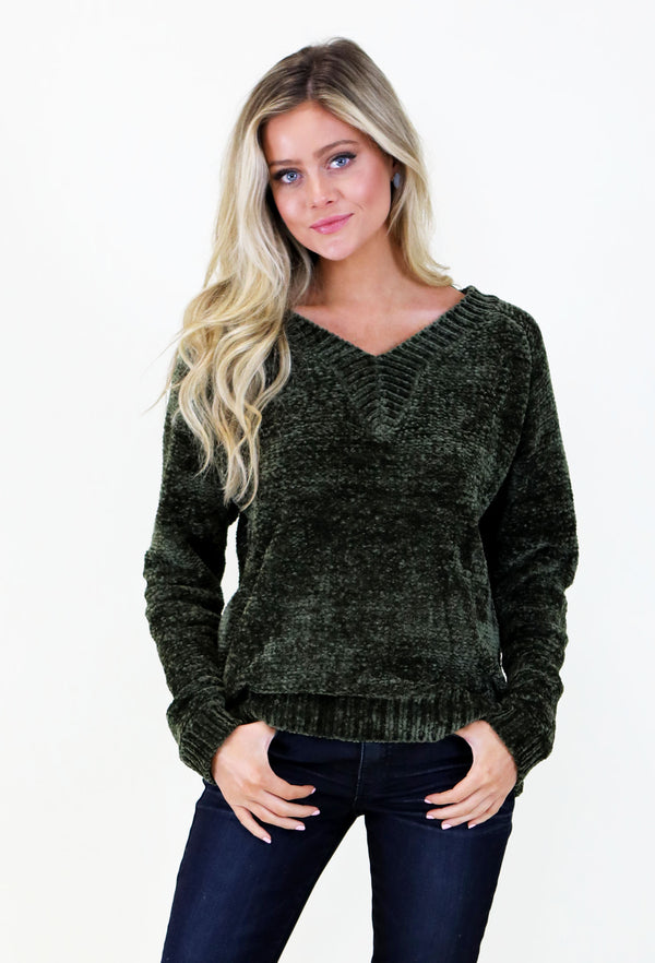Dark Olive Green Vneck Sweater