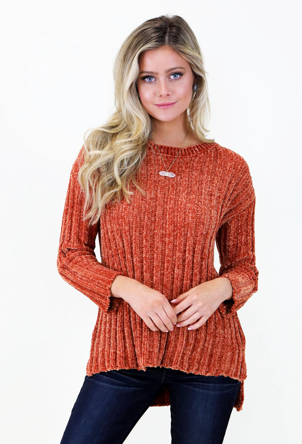 DETAILED CHENILLE 3/4 LENGTH SWEATER - ORANGE