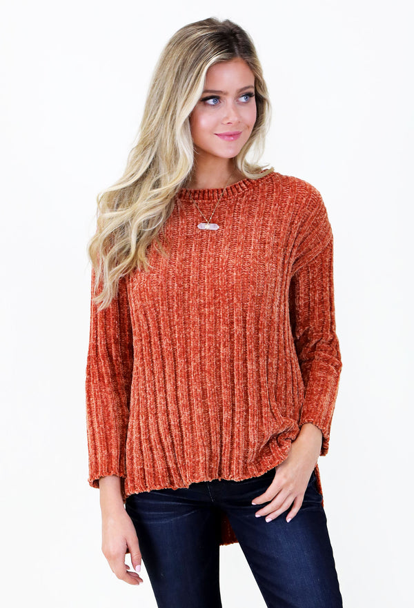 Detailed Chenille 3/4 Length Sweater- Orange