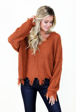 ORANGE DISTRESSED TASSEL SWEATER