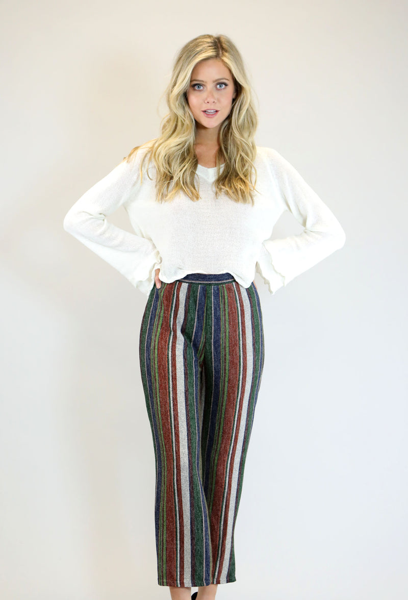 Neutral Striped Cropped Pants