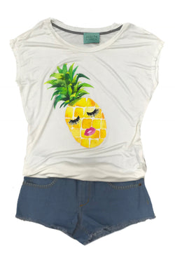 Judith March Cream Tee with Pineapple with eyelashes