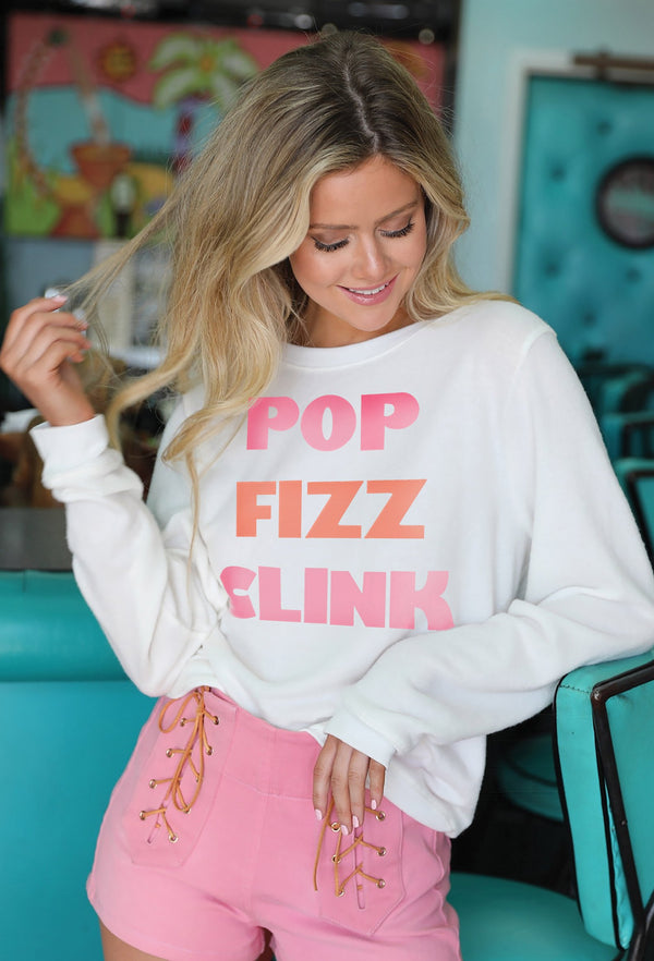 "Off White Sweatshirt W/ ""Pop, Fizz, Clink"""