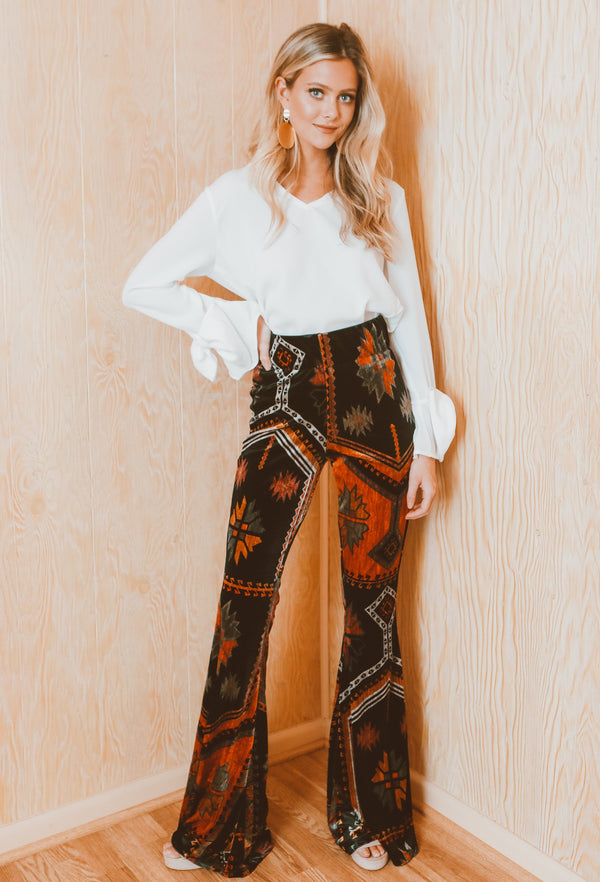 Judith March Big Skye Velvet Flare Pant