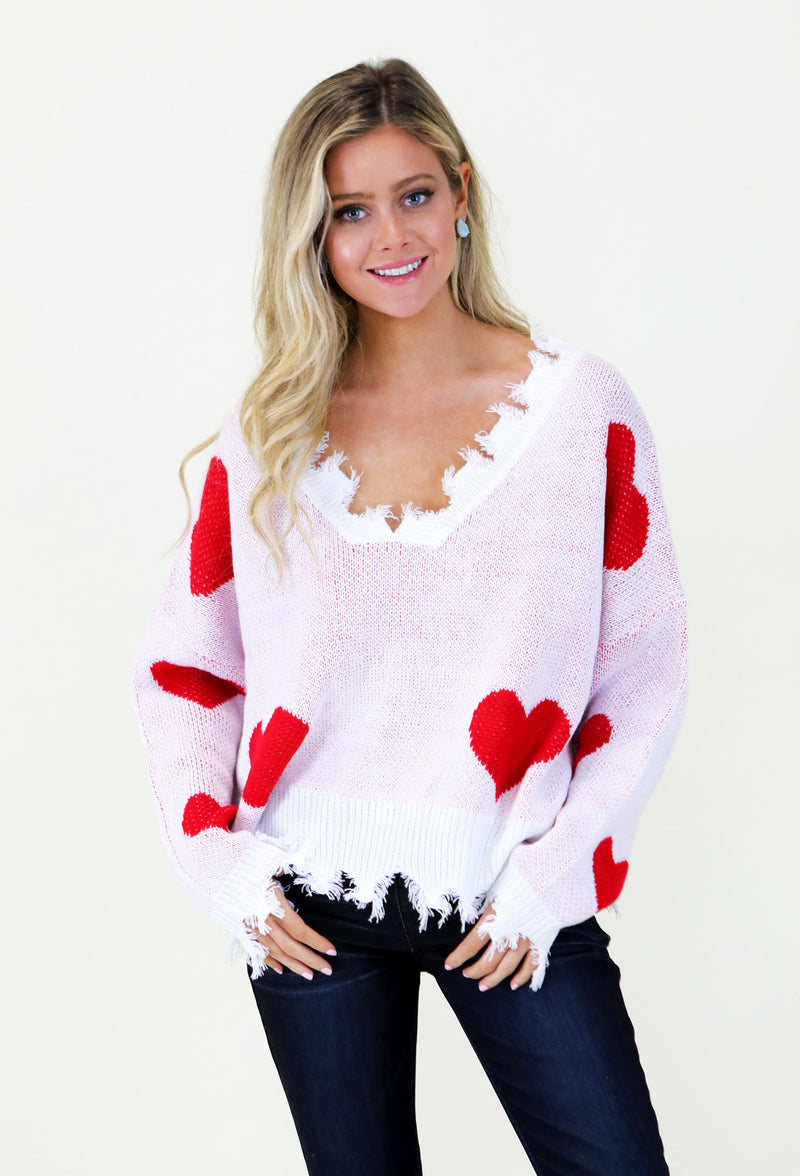 QUEEN OF HEARTS SWEATER- RED