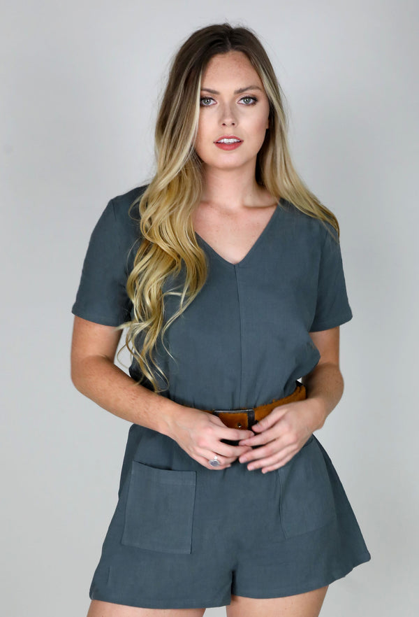 VNECK ROMPER WITH POCKETS - CHARCOAL