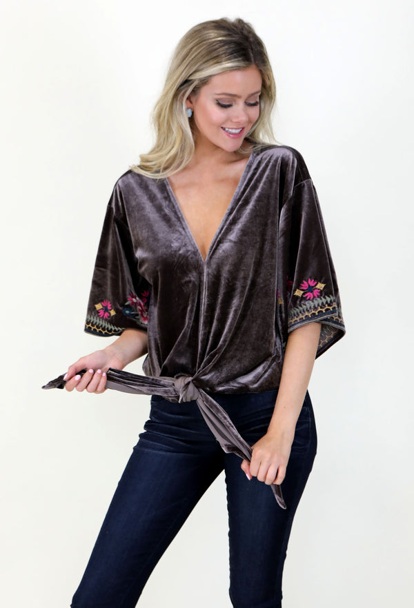 Suede Front Tie Top- Brown
