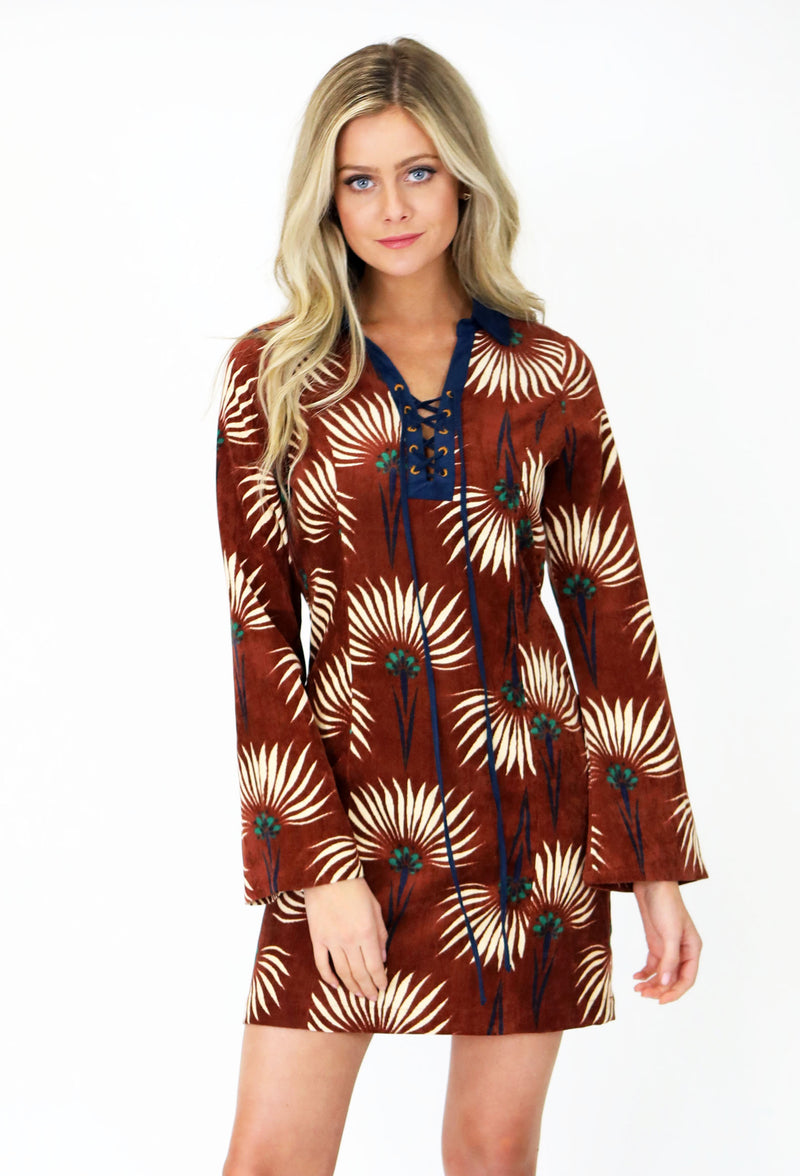 Corduroy Dress With Floral Detail