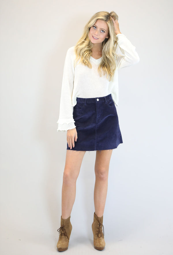 Corduroy Mini Skirt - Navy