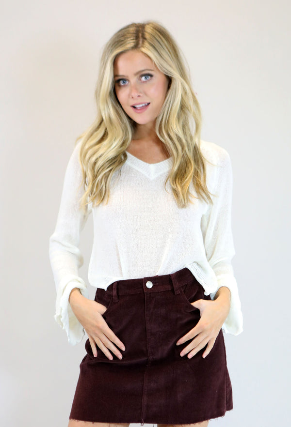 Corduroy Mini Skirt - Burgundy