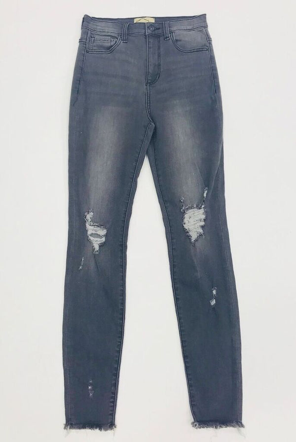 Charcoal Skinny Jeans With Holes