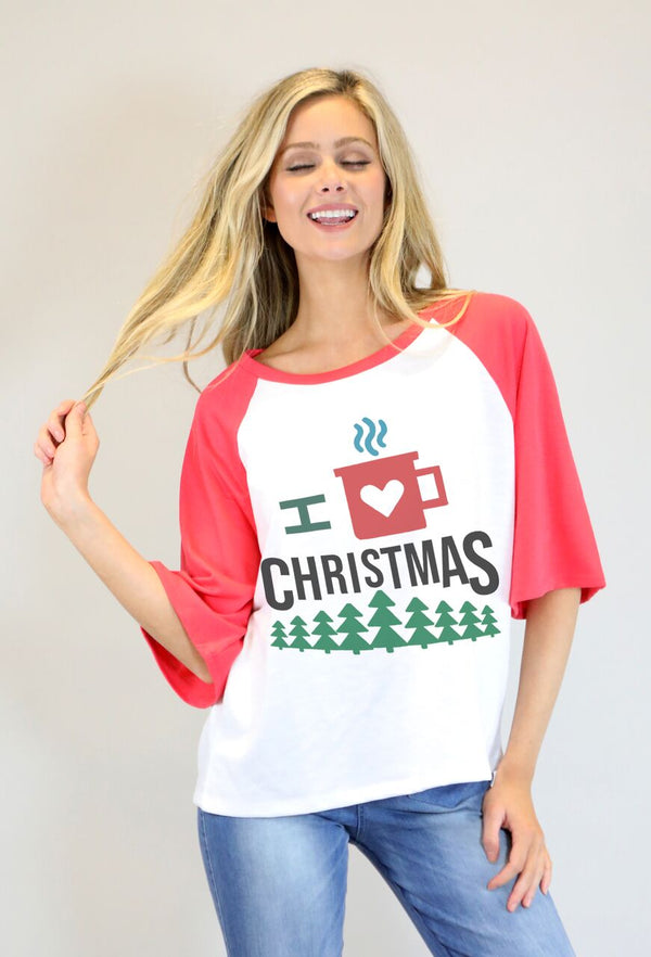 "Red Bell Sleeve Raglan Tee W""I Love Christmas"""