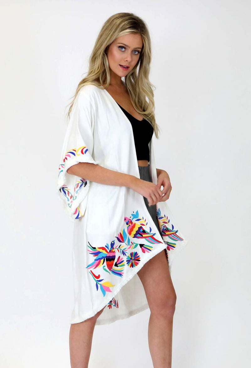 OFF WHITE RAYON TWILL KIMONO W/FRAYED HEM DETAIL & MEXICAN BIRD EMBROIDERY